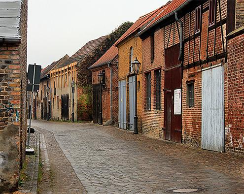 Altstadt Beelitz gepflasterter Weg